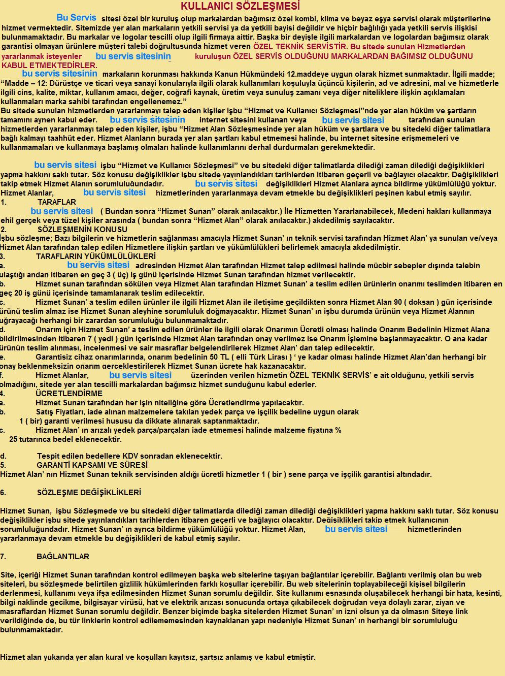 Bosch Teknik Servis Kullanıcı Sözleşmesi